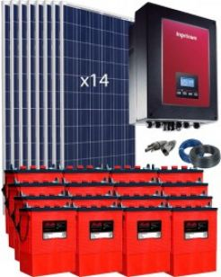 Kit Grid Tied PV System 3000W with Battery 10000Wh